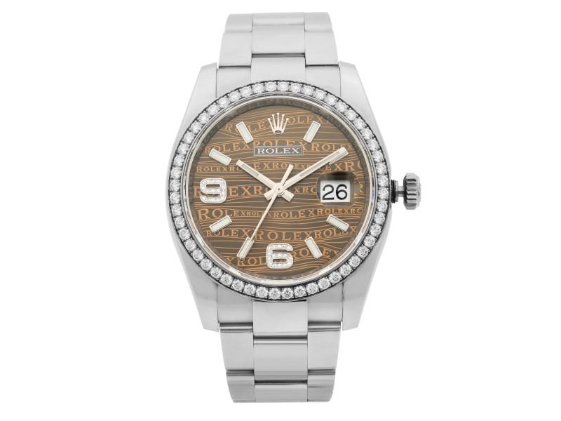 Rolex Datejust Steel Diamond Bronze Wave Dial Automatic Unisex 36mm Watch 116244