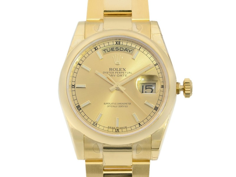 Rolex Day-Date 36mm 18K Yellow Gold Champagne Dial Automatic Mens Watch 118208