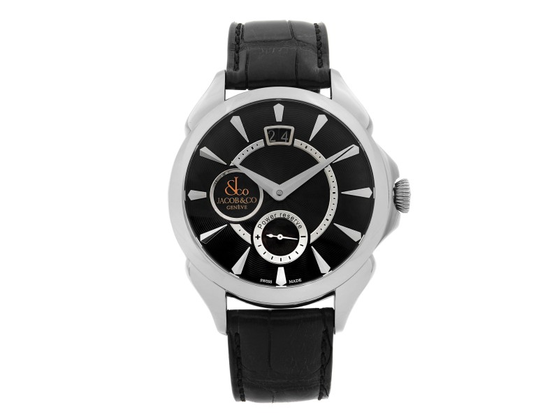 Jacob & Co. Palatial Big Date Steel Hand-Wind Mens Watch PC400.10.NS.NS.A