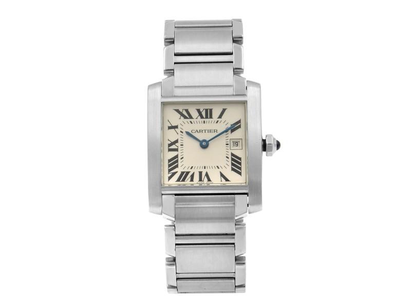 Cartier Tank Francaise Steel Silver Roman Dial Quartz Midsize Watch W51011Q3