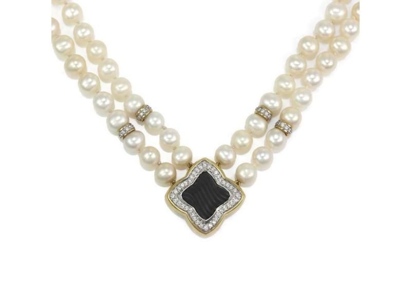 David Yurman Quatrefoil Diamond Onyx Pearls 18k Gold Double Strand Necklace