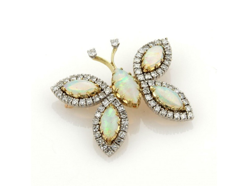 Vintage 7.20ct Diamonds & Opal 18k Two Tone Gold Butterfly Pin Brooch
