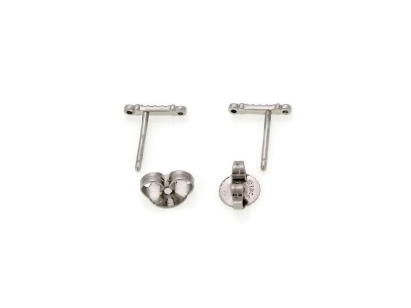 Tiffany & Co. Diamond Platinum Slim Bar Stud Earrings