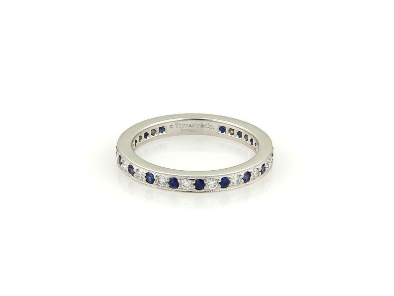 Tiffany & Co. Diamond Blue Sapphire Platinum Milgrain Eternity Band Ring Size 5