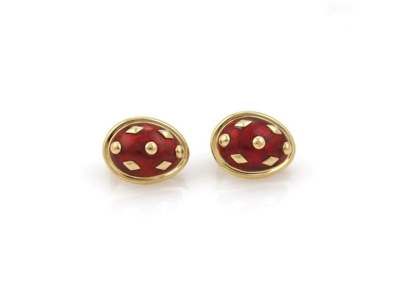 Tiffany & Co. Schlumberger Red Dot Lozenge Enamel Earrings