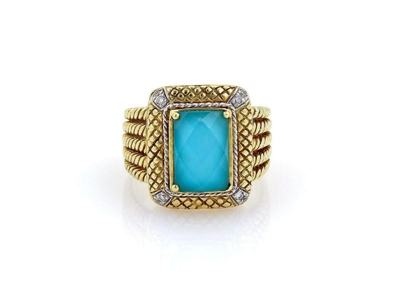 Estate Diamonds Blue Quartz 18k Yellow Gold Textured Rectangular Top Ring