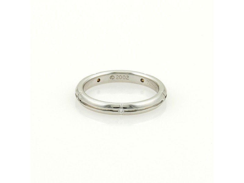 Tiffany & Co. Diamonds 18k Gold 2.5mm Grooved Wedding Band Ring Size 4.5