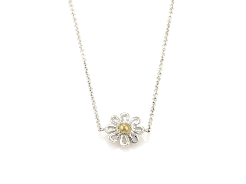 """Tiffany & Co. Picasso Sterling 18k Gold 5 Daisy Station Long Chain Necklace 28""""L"""