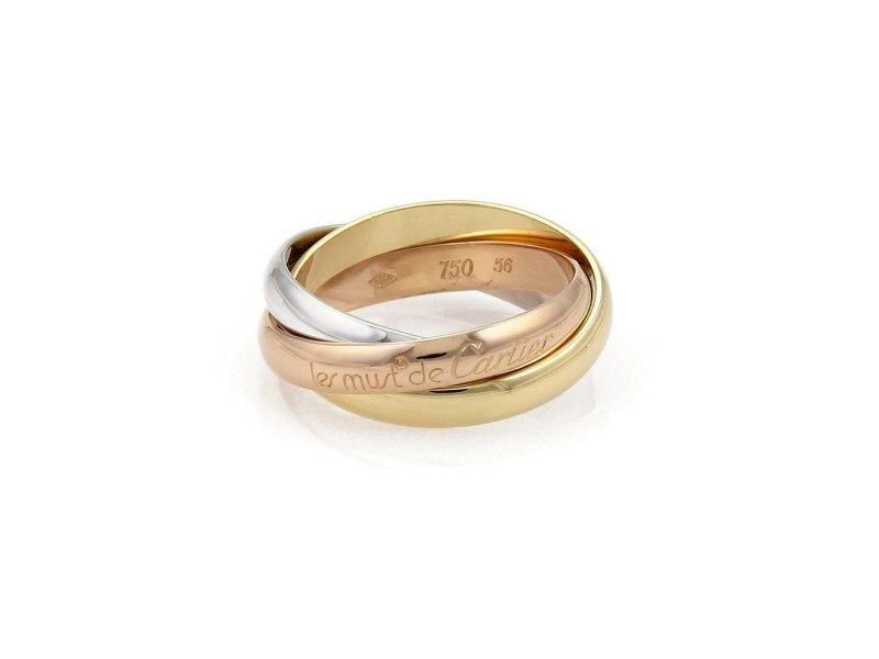 Cartier Trinity 18k Tricolor Gold 3mm Rolling Band Ring Size EU 56 US 7.5