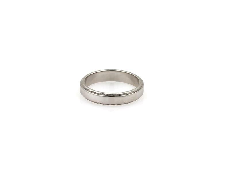 Tiffany & Co. Signature Platinum Double Milgrain 4mm Band Ring Size 7
