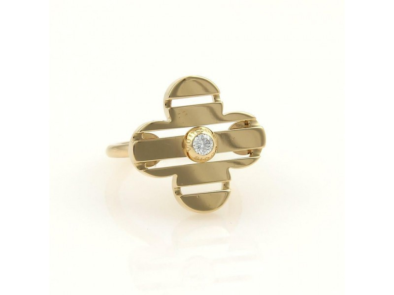 Louis Vuitton Petite Fleur Diamond 18k Yellow Gold Floral Ring Size 4.75