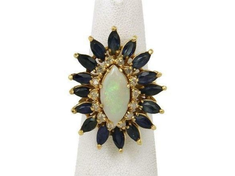 Gorgeous 9.45ctw Opal Diamond & Sapphire 14k Yellow Gold Cocktail Ring
