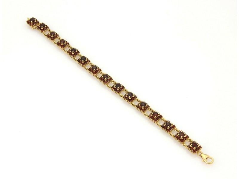 Estate 18k Yellow Gold 10.5 Garnet Gemstone Rosette Link Bracelet