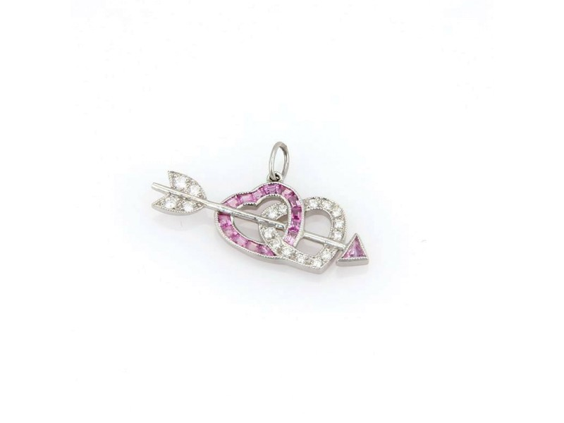 Tiffany & Co. Platinum Diamond Pink Sapphire Heart & Arrow Pendant