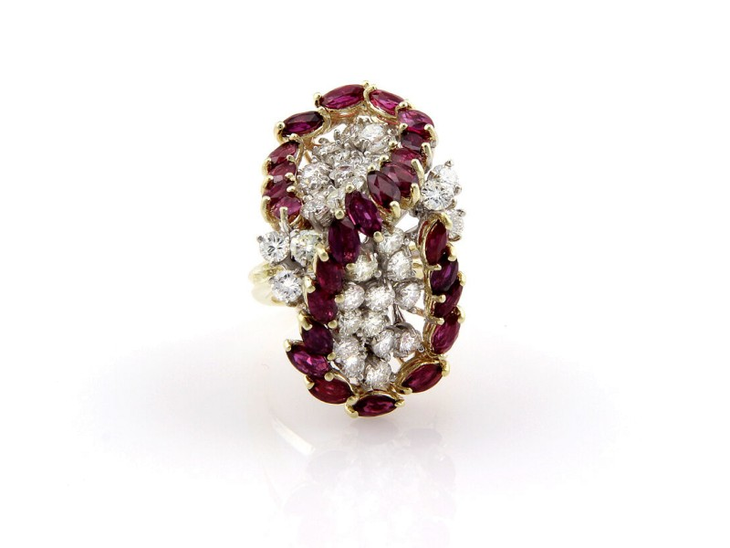 Estate 14K Yellow Gold Diamond Ruby Cluster Cocktail Ring
