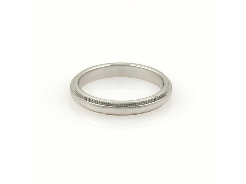 Tiffany & Co. Platinum Double Milgrain 3mm Wide Wedding Band Ring Size 5