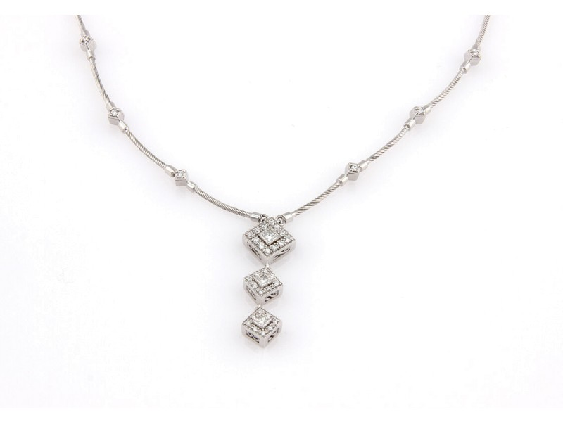 Philippe Charriol 18K White Gold Cable Diamond Pendant Necklace