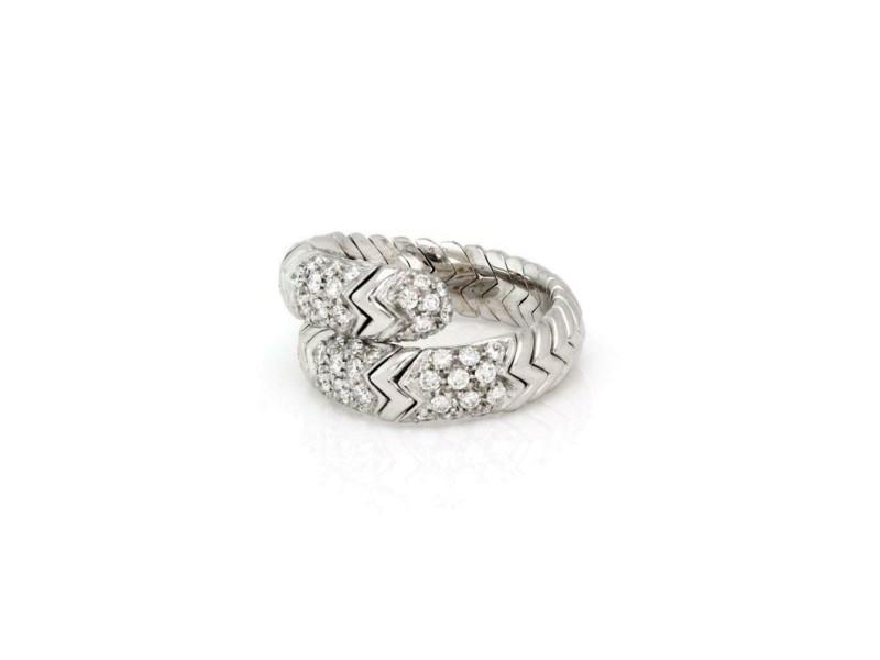 Bvlgari 1.00ct Diamond 18k White Gold Spiga Bypass Band Ring Size 6.5
