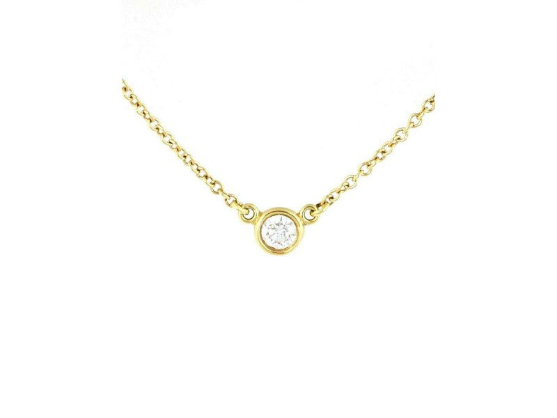 Tiffany & Co. Diamond By The Yard 18k YGold Solitaire Pendant & Chain