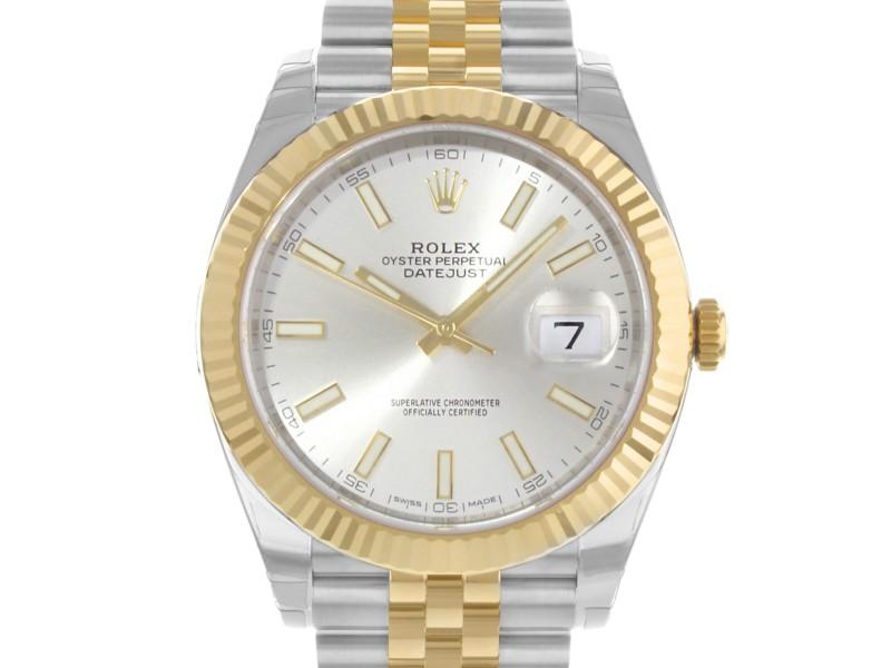Rolex Datejust 41 Steel 18K Yellow Gold Silver Dial Jubilee Mens Watch 126333