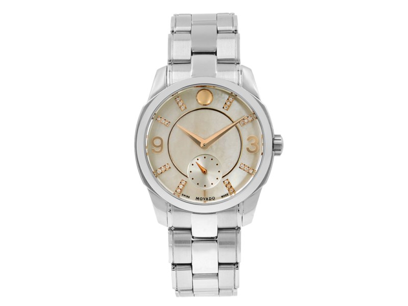 Movado LX Steel Diamond Mother of Pearl Dial Quartz Ladies Watch 0606619