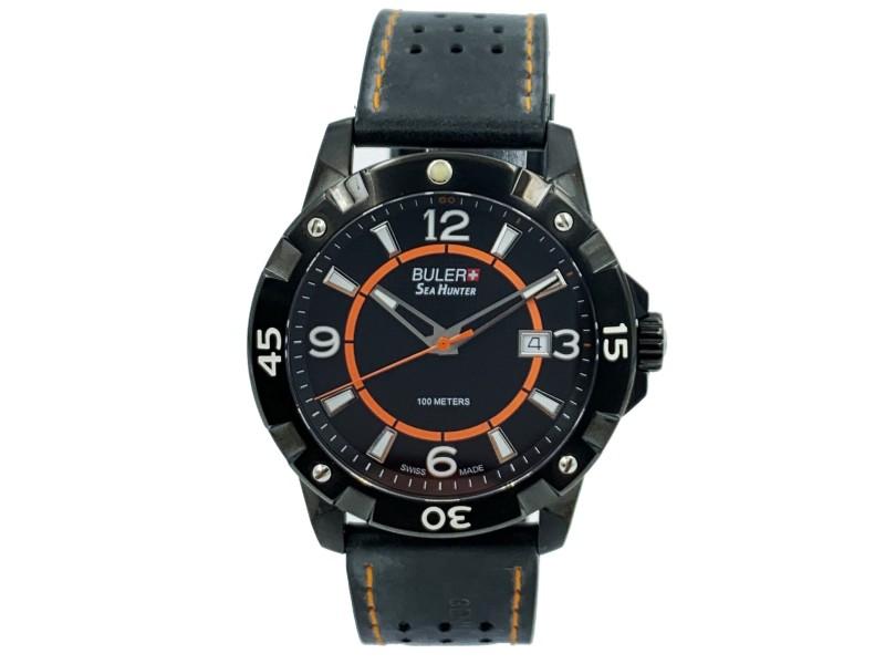 Buler Sea Hunter Steel Black Dial Leather Strap Quartz Mens Watch  45141