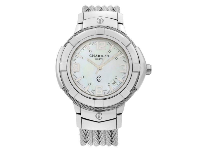 Charriol Celtic Stainless Steel MOP Dial Ladies Quartz Watch CE438S.650.001