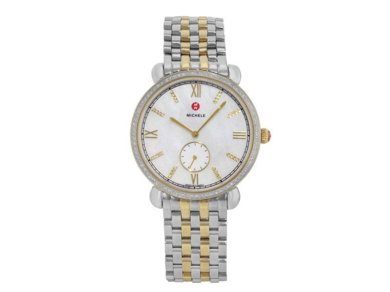 Michele Gracile MOP Two Tone Steel .40cttw Quartz Ladies Watch MWW26A000003