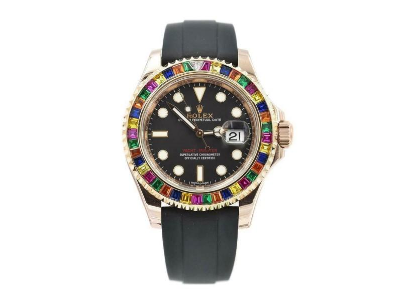 Rolex Yacht-Master Rainbow Sapphires Everose Gold Automatic Mens Watch 116695