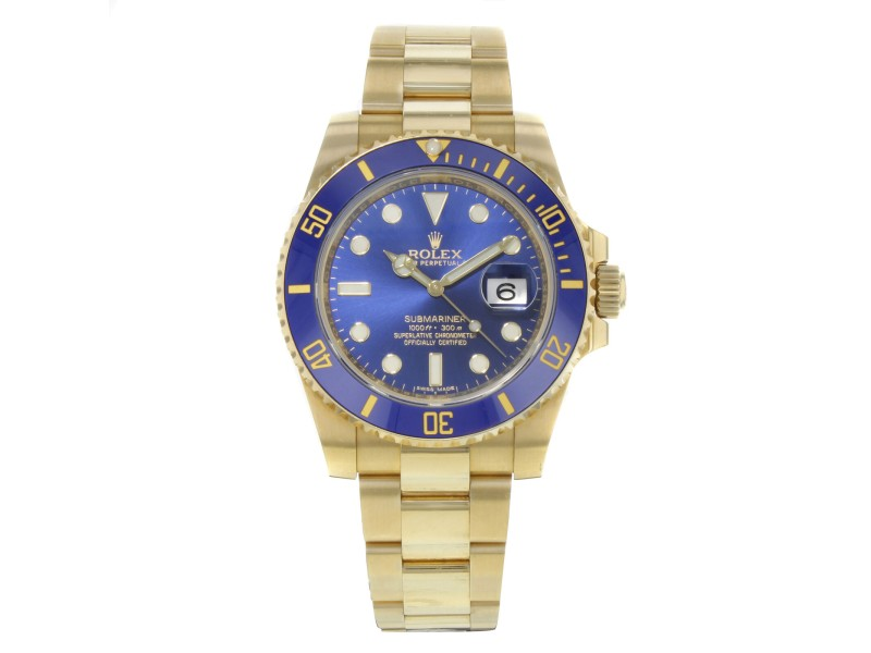 Rolex Submariner 116618 Blue on Blue 18K Yellow Gold Automatic Mens Watch