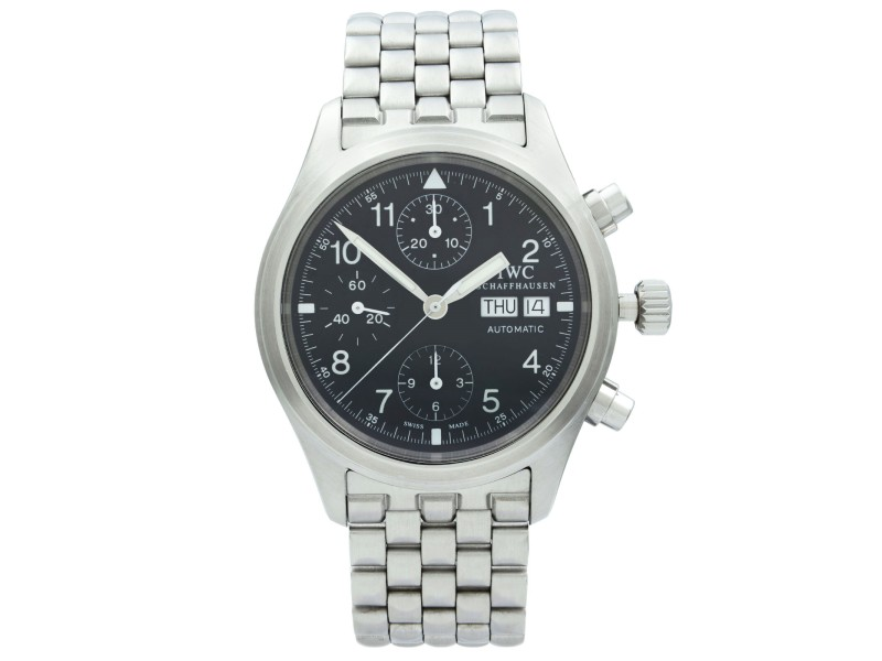 IWC Pilot Steel Day Date Arabic Black Dial Automatic Mens Watch IW370607