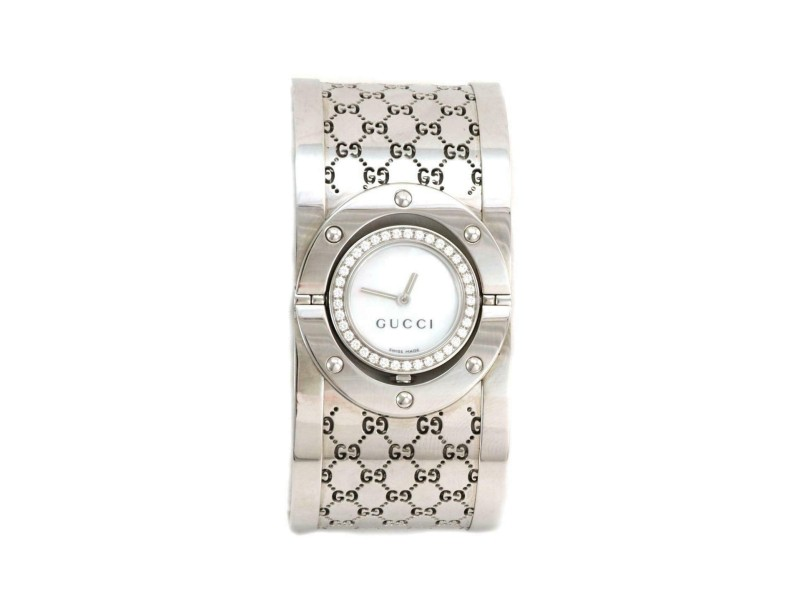 Gucci Twirl Diamond Mother of Pearl SSteel Wide Bracelet Ladies Watch w/Box