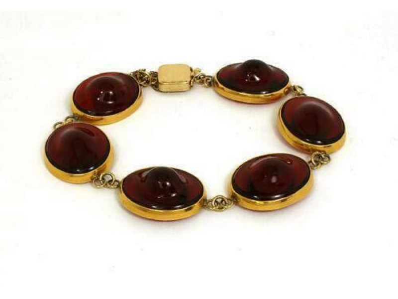 Vintage 14k Yellow Gold & Handblown Red Gem Round Link Bracelet