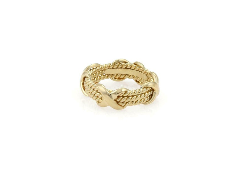 Tiffany & Co. Schlumberger 18k Yellow Gold X Wire Band Ring Size 5.25