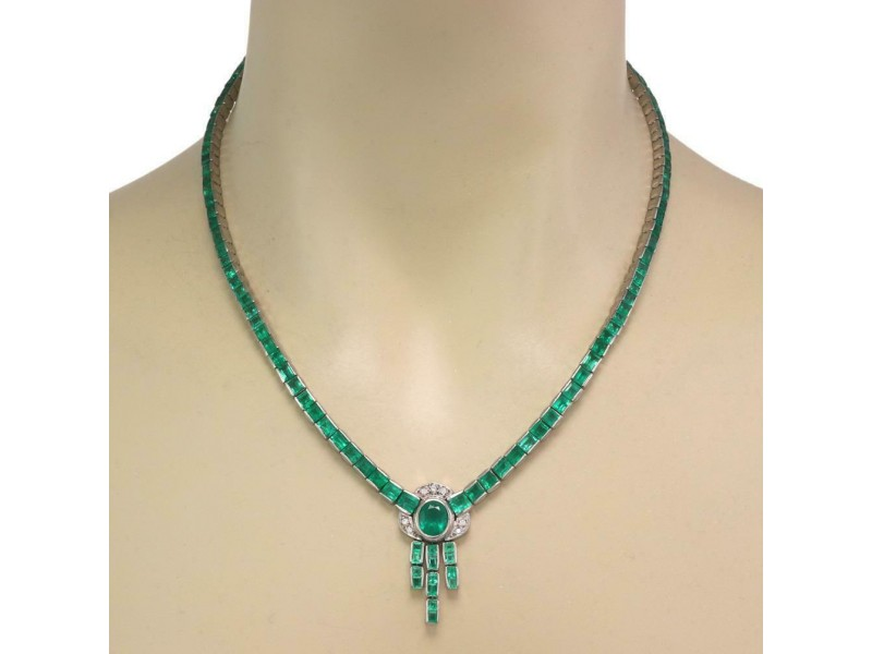 Vintage 20.10ct Emerald Diamond 18k White Gold Dangle Pendant Necklace