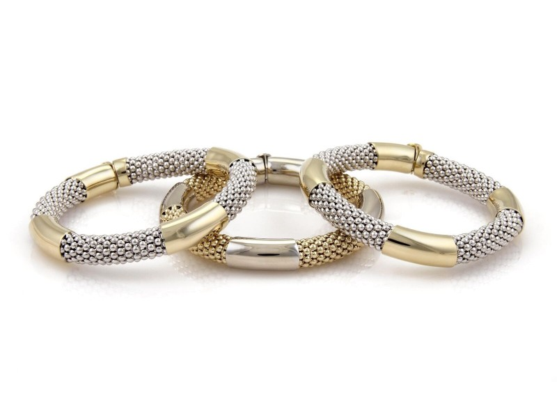 14k Two Tone Gold Set of 3 Bead Mesh Chain Tube Style Bracelet Bangle 105 grams