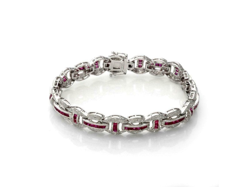 14k White Gold 5.30ct Diamond & Ruby Milgrain Fancy Link  Bracelet