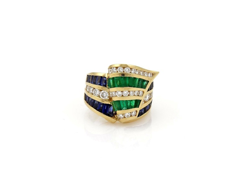 Estate 8.00ct Diamond & Gems Krypell Style Wide Ribbon Band Ring SZ-7.75