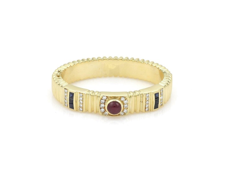 18k Yellow Gold 3.40ct Diamond Ruby & Sapphire Grooved Style Bracelet