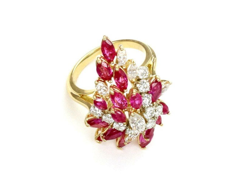 -6 Carats Diamond & Ruby 18k Yellow Gold Cluster Ring Size - 6.5