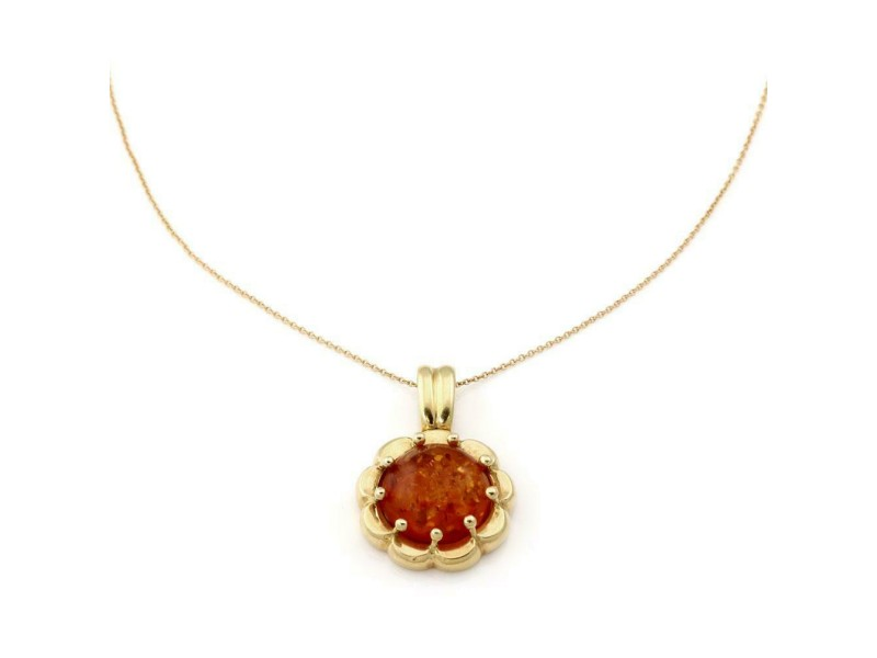 Amber Gem 18k Yellow Gold Floral Pendant & Chain