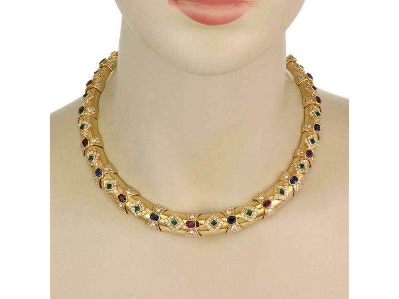 Estate 21.5ct Diamonds 18k Gold Ruby Sapphire & Emerald Necklace