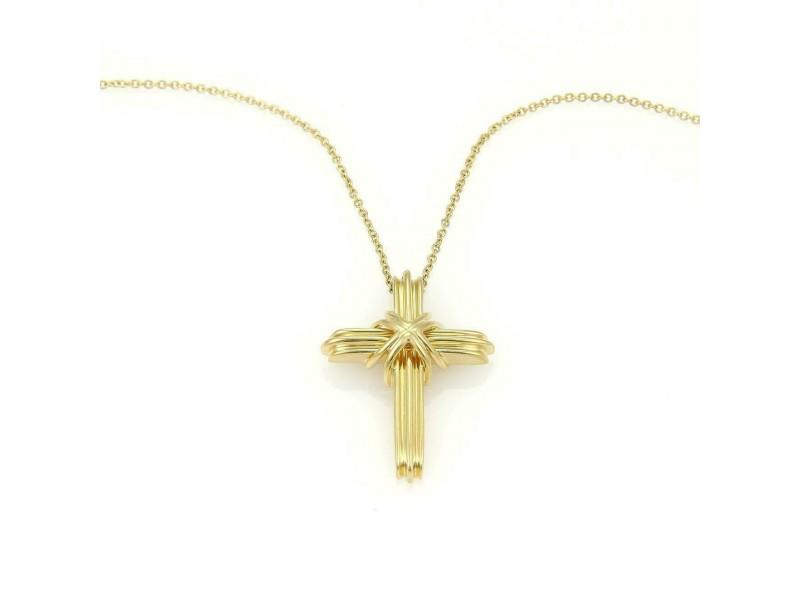 Tiffany & Co. 18k Yellow Gold Cross Pendant & Chain