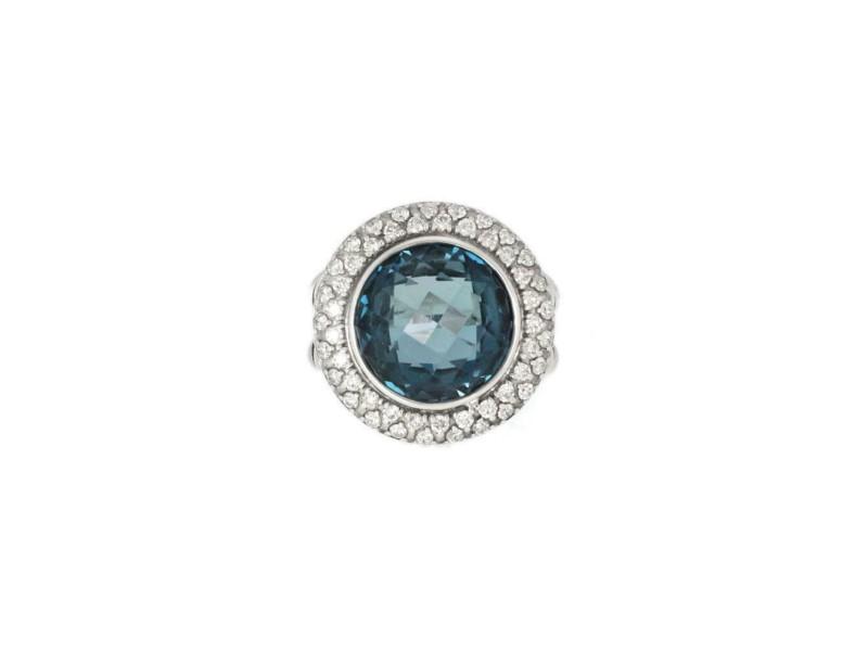 64702 David Yurman 1.00ct Diamond Topaz Sterling Silver Cable Ring Size - 5