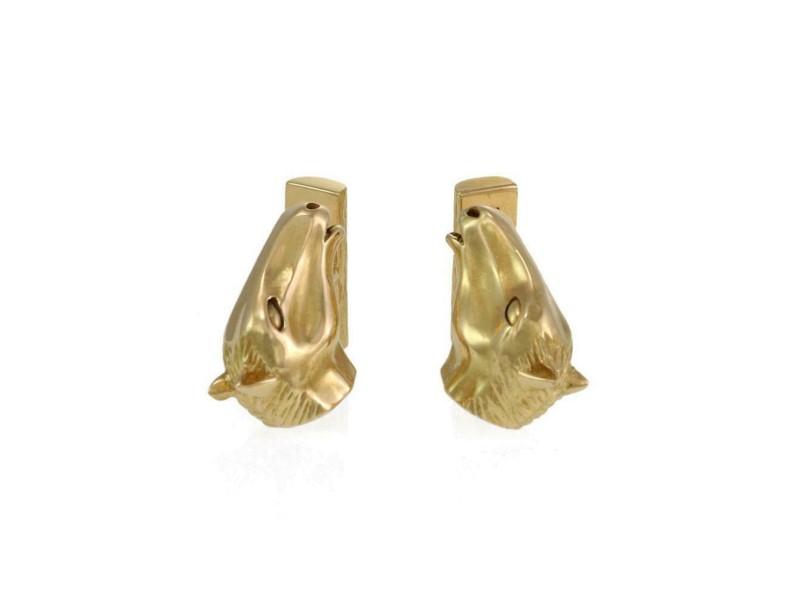 Estate 18k Yellow Gold Horse Head Stud Cufflinks
