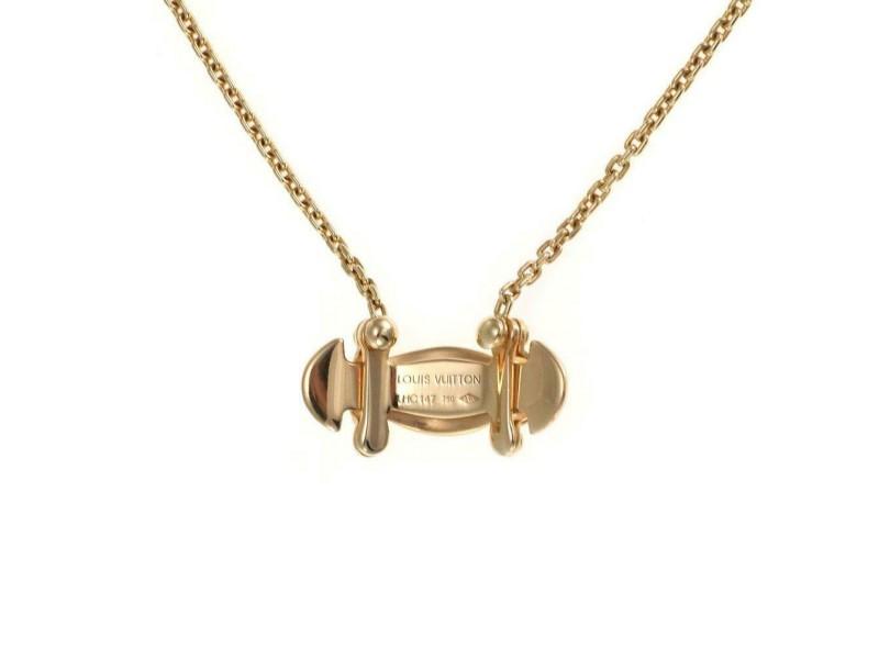 Louis Vuitton 18k Yellow Gold Fancy Long Curved Pendant & Chain