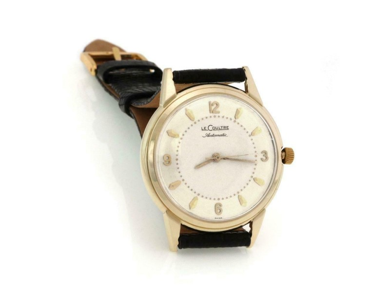 64724 Le Coultre Automatic 14k Yellow Gold Men's Wrist Watch Leather Band