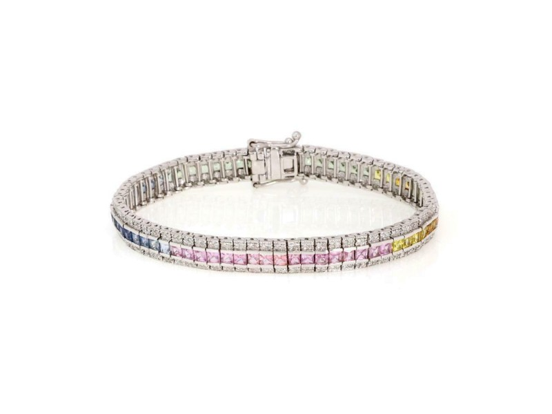 Estate 11.50ct Diamond Multicolor Sapphire 14k White Gold Rainbow Bracelet