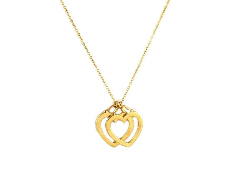 Tifffany & Co. 18k Yellow Gold 2 Open Double Hearts Pendant & Chain