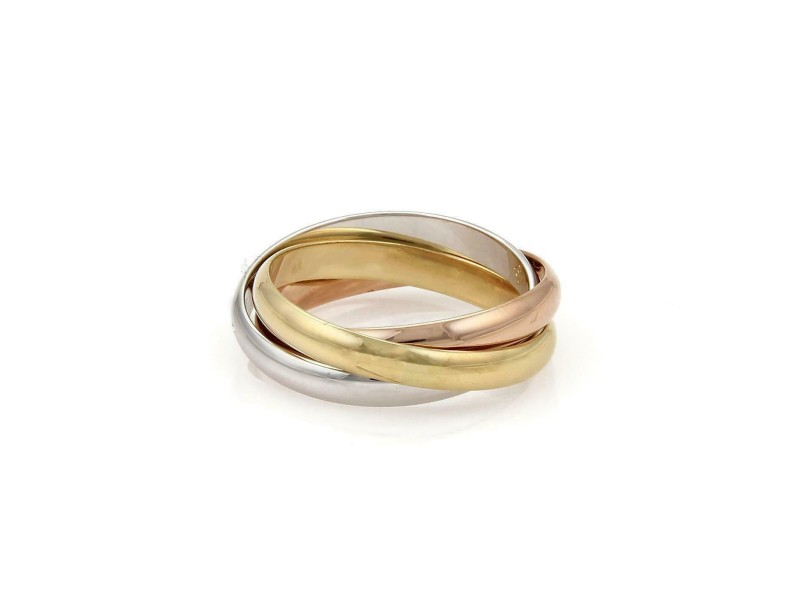 Cartier Trinity 18k Tricolor Gold 3mm Rolling Band Ring Size EU 61-US 9.5